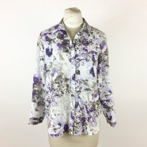 Chicos Purple Floral Blouse Frosted Blooms Adelyn